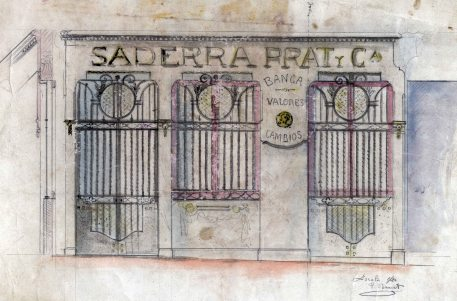 Projecte de la façana de la banca Saderra, Prat y Compañía, a Olot, 1915