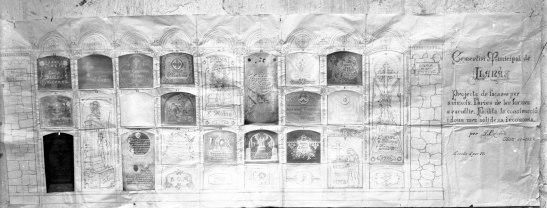 Reproducció del projecte de façanes per a nínxols a Llanars, 1927 (foto Sadurní Brunet, ACGAX)