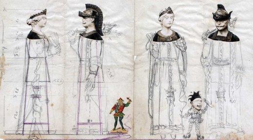 Esbós de l'estructura i dels vestits del gegants de Calella, 1935