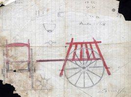 Esbós d'un carretó dissenyat per Sadurní Brunet, c. 1920