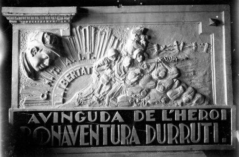 Projecte de la placa de l'avinguda de Bonaventura Durruti, 1938 (ACGAX. Fons Sadurní Brunet Pi. Autor: Sadurní Brunet)
