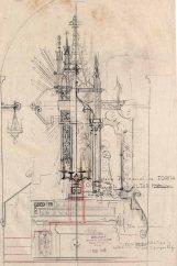 Esbossos d'altar i trona de l'església de Sant Julià, a Fortià, 1948