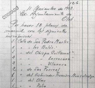 Esborrany de factura de plaques de carrer per a l'Ajuntament d'Olot, 11.11.1942 (ACGAX. Fons Sadurní Brunet Pi. Dietaris)