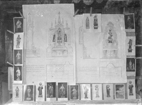 Composició amb imatges de sants per omplir els altars de les esglésies de Fortià i Riumors, 1948 (ACGAX. Fons Sadurní Brunet Pi. Autor: Sadurní Brunet)