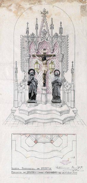 Projecte de l'altar del Calvari de l'església de Sant Julià, a Fortià, 1948