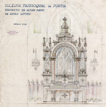 Projecte de l'altar major de l'església de Sant Julià, a Fortià, 1948