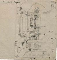Esbós del projecte de l'altar de l'església de Sant Martí de Capsec, a la Vall de Bianya, 1944