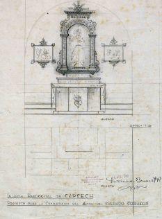 Projecte per completar l'altar del Sagrat Cor de l'església de Sant Martí de Capsec, a la Vall de Bianya, 1948