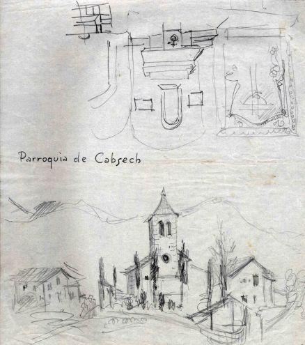 Dibuix de l'església de Sant Martí de Capsec, a la Vall de Bianya, entre els anys 1944 i 1948
