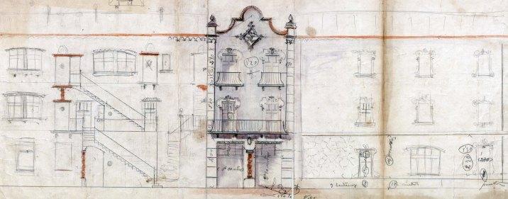 Façana i alçat d'una casa sense identificar, entre els anys 1909 i 1920