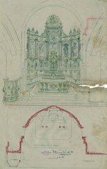 Projecte de l'altar major a l'església de Santa Eulàlia, a Begudà, 1945