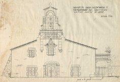 Projecte de reforma de la façana i del campanar del santuari de la Fontsanta, a Jafre, 1945