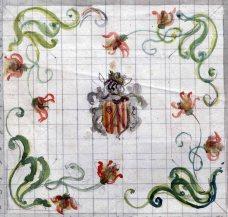 Esbós del projecte de mosaic del terra de l'oratori de Can Gussinyer, a Castellfollit de la Roca, 1916