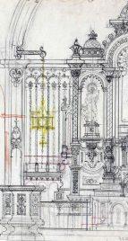 Fragment del projecte de l'altar major de l'església de Sant Jaume de Llierca, 1948