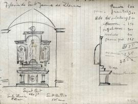 Esbós de l'altar del Sagrat Cor de l'església de Sant Jaume de Llierca, 1947