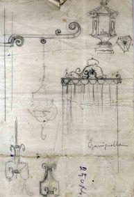 Esbossos d'elements de decoració per a l'església de Santa Eulàlia de Noves, a Garriguella, 1941