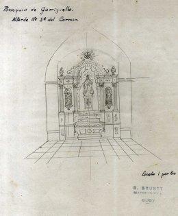 Esbós de l'altar del Carme de l'església de Santa Eulàlia de Noves, a Garriguella, 1941