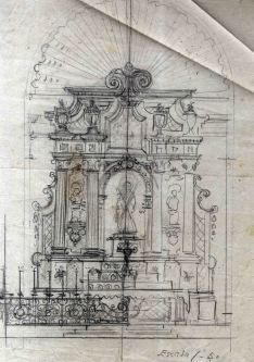 Esbós de l'altar major de l'església de Santa Eulàlia de Noves, a Garriguella, 1941