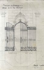 Projecte de la reixa de la pica baptismal de l'església de Santa Eulàlia de Noves, a Garriguella, 1941