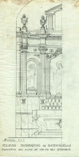 Projecte de l'altar del Roser de l'església de Santa Eulàlia de Noves, a Garriguella, 1941
