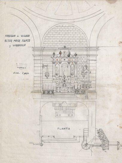 Projecte de l'altar major, barana i trona de l'església de Sant Feliu, a Vilajuïga, 1941