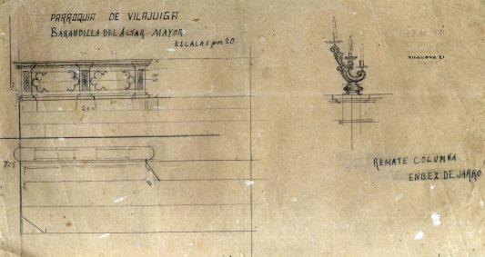 Barana i detall decoratiu de l'església de Sant Feliu, a Vilajuïga, 1941