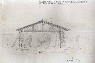 Projecte de cabana per guardar carros al santuari de la Fontsanta, a Jafre, 1945