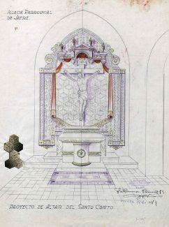 Projecte de l'altar del Sant Crist de l'església de Sant Martí, a Jafre, 1946