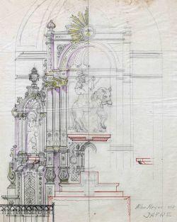 Projecte de l'altar major de l'església de Sant Martí, a Jafre, 1946