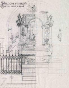 Projecte de l'altar de la Mare de Déu de Gràcia del santuari de la Fontsanta, a Jafre, 1945
