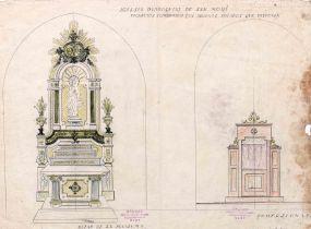 Projecte de decoració de l'altar de la Puríssima i del confessionari de l'església de Sant Maurici, a Sant Mori, 1946