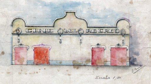 Esbós de la façana del Cine del Recreo, 1910