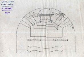 Planta de l'altar major de l'església de Sant Maurici, a Sant Mori, 1946