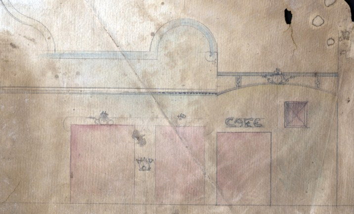 Fragment d'esbós de la façana del Cine del Recreo, 1910