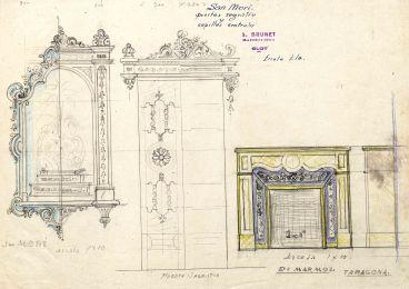 Esbossos d'una capella, d'una porta i d'una xemeneia, a Sant Mori, 1946