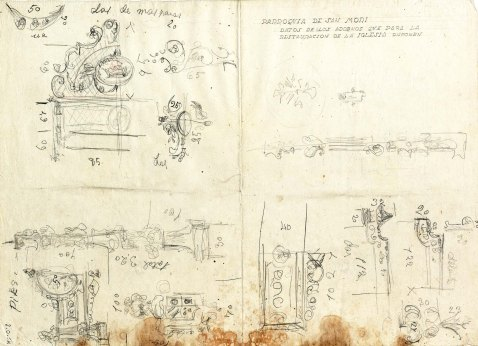 Esbossos de detalls decoratius de l'església de Sant Maurici, a Sant Mori, 1946