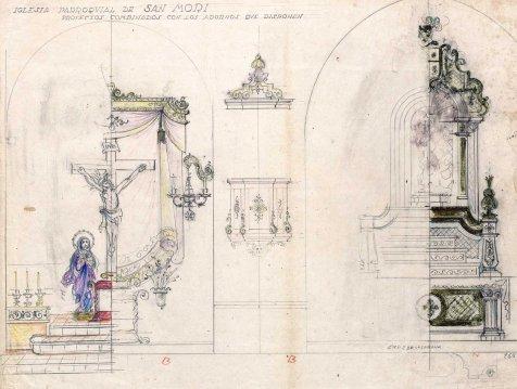 Projectes decoratius dels altars del Sant Crist i de la Puríssima de l'església de Sant Maurici, a Sant Mori, 1946