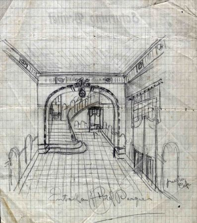 Esbós del vestíbul de l'Hotel del Parc, 1917