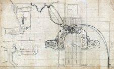 Esbossos de la façana i d'altres elements de la sucursal de la banca Saderra, Prat y Compañía, a Banyoles, 1916