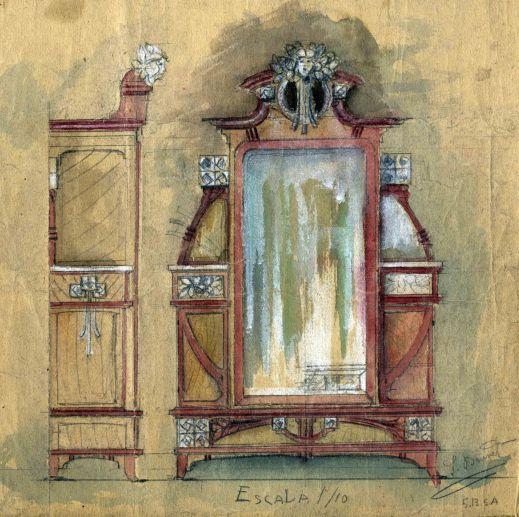 Projecte d'armari mirall, 1909