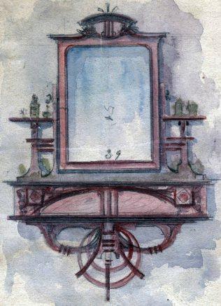 Esbós d'un tocador de maquillatge, 1909