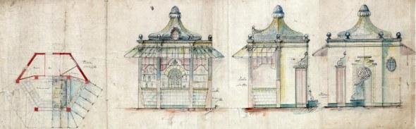 Plànol del projecte d'un quiosc modernista a la zona del Tibidabo, a Barcelona, entre els anys 1908 i 1912