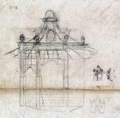 Esbós del projecte d'un quiosc modernista a la zona del Tibidabo, a Barcelona, entre els anys 1908 i 1912