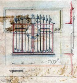 Projecte de la reixa i dels detalls decoratius d'una finestra sense localitzar, 1914