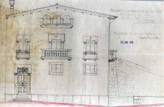 Plànol del projecte de reforma de la casa de Martí Batlle, a Jafre (façana de la carretera), 1945