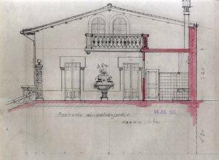 Plànol del projecte de reforma de la casa de Martí Batlle, a Jafre (façana del pati), 1945