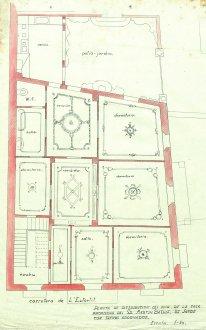 Plànol del projecte de reforma de la casa de Martí Batlle, a Jafre (distribució d'espais i ornaments del sostre), 1945