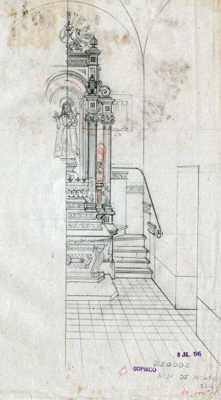 Projecte del cambril de Nostra Senyora de Mont-ros a l'església de Santa Eulàlia, a Begudà, 1945
