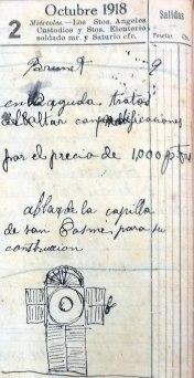 Anotacions sobre el treball a l'església de Sant Cosme i Sant Damià, a Begudà, 2.10.1918 (ACGAX. Fons Sadurní Brunet Pi. Dietaris)