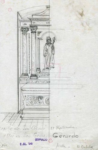 Projecte per a l'altar de Sant Grau de l'església de Sant Cosme i Sant Damià, a Begudà, 1945